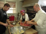 Threefold Cafe Chef Anthony Lo Pinto and helpers prepare meatballs made with Biodynamic Hawthorne Valley beef