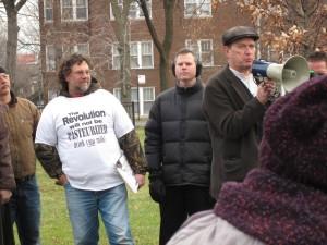 Michael Schmidt speaking to the crowd