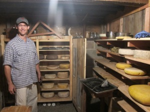 Christian Saretzki in Frey Vineyards' cheese cellar