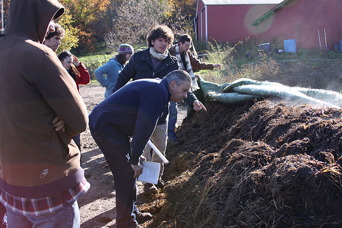 Visiting the compost research site
