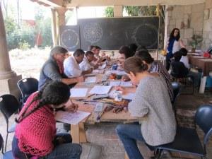 Geometry session during Biodynamic diplomado, Huerta de Vinci