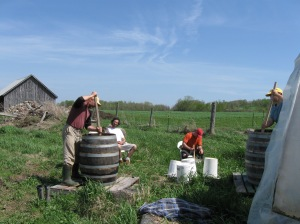 Stirring biodynamic preparation 500 at the farm